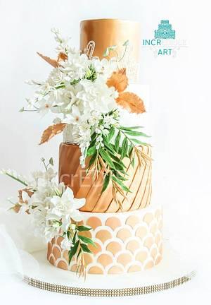 Auric Utopia- Gold and White Wedding Cake - Cake by Rumana Jaseel