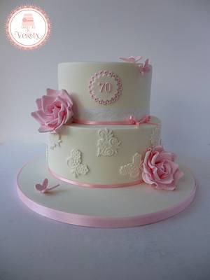 Rose and Lace 70th birthday cake. - Cake by Cakes by Verity