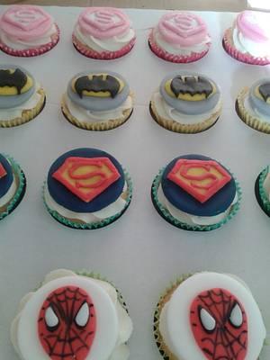 Brooklyn's Super Hero logo cupcakes - Cake by Karen's Kakery