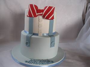 bowtie and braces chistening cakes - Cake by jen lofthouse