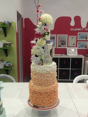 Wedding Cake with Groom and Bride Cake too! - Cake by ladygourmet