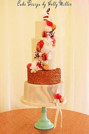 Sweet treats, rose gold and marble! - Cake by Holly Miller