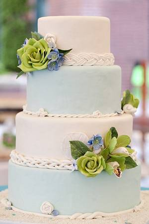 Floral Seaside Wedding - Cake by Erin Gardner