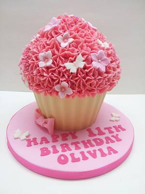 Pink & Girlie Giant Cupcake - Cake by Sarah Poole