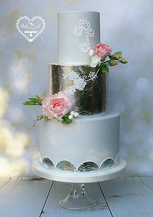 Silver Leaf and Hand Piped Wedding Cake - Cake by The Whimsical Cakery
