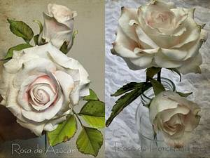 Rosa de Azucar y Rosa de Porcelana  Fría   - Cake by Griselda de Pedro
