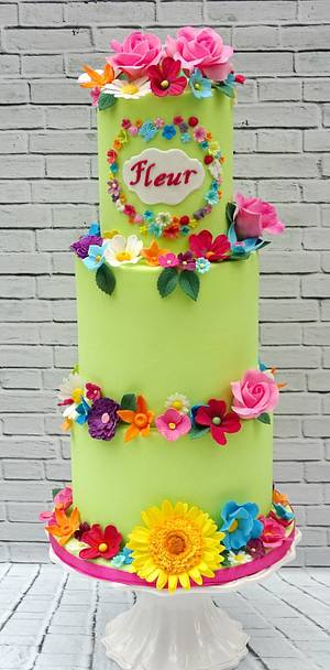 Bright flowery 1st birthday - Cake by The Rosehip Bakery