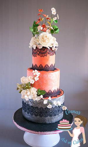 Coral Lace Wedding  - Cake by Veenas Art of Cakes