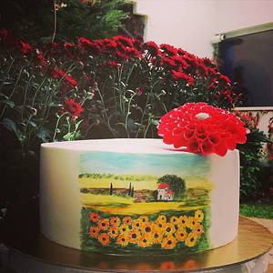 Autumn landscape painting - Cake by Torturi de poveste