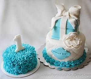 1st birthday cake with matching smash cake - Cake by Jennifer's Edible Creations