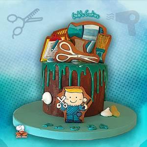 Hairdresser Drip cake  - Cake by Gele's Cookies