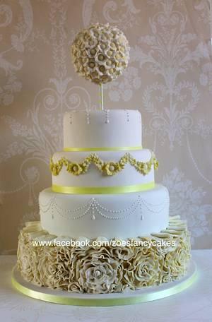 White and yellow wedding cake no 1- plus ruffle tutorial - Cake by Zoe's Fancy Cakes