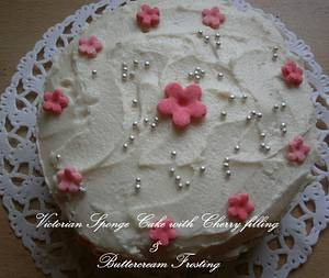 Victorian Sponge Cake with cherry filling and butter cream frosting - Cake by ritz55