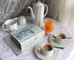 Orange juice, coffee and the morning paper! - Cake by Artym