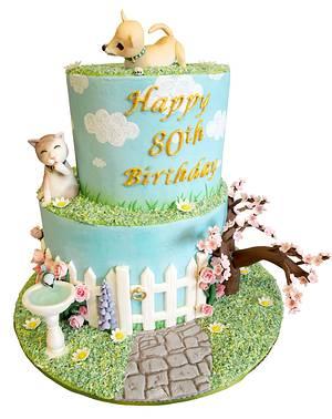 English Garden 80th Birthday Cake - Cake by Sweet SugarCraft