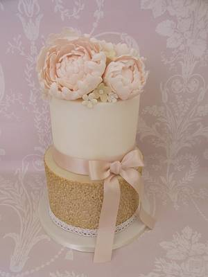 Peony & Gold Sequins..x. - Cake by Lulu Belles Cupcake Creations