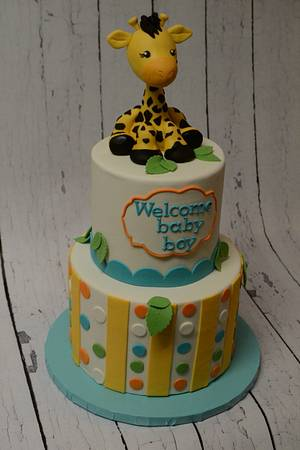 Another Giraffe themed baby shower   - Cake by Erica Parker