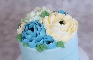 Butterceam Flowers  - Cake by Sharon Zambito