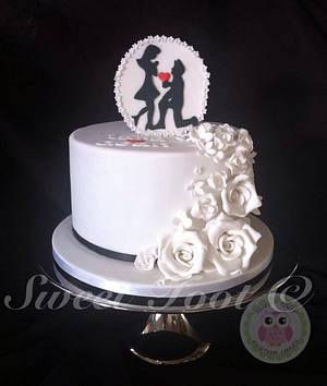 sillhouette engagement cake so romantic my first one x - Cake by christina