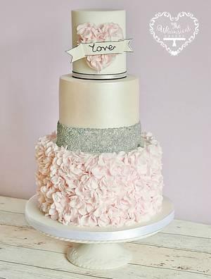 Ruffle Hear Wedding Cake - Cake by The Whimsical Cakery