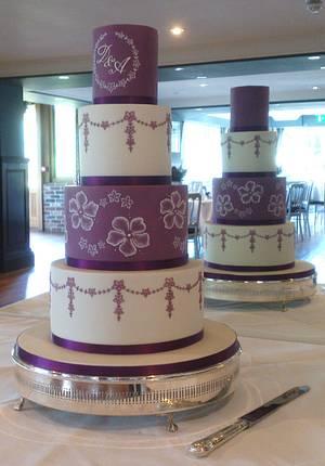 Purple and ivory wedding cake - Cake by BellissimoCakes