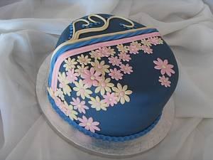 Dark Blue, Pink & Cream Applique Birthday Cake - Cake by Christine