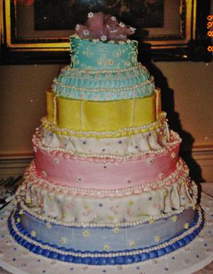 Whimsical wedding cake in buttercream - Cake by Nancys Fancys Cakes & Catering (Nancy Goolsby)