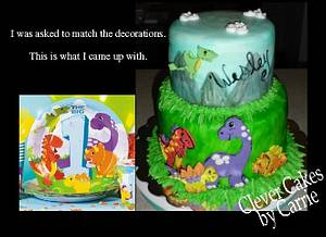 Hand Painted Dino Cake - Cake by Carrie Freeman