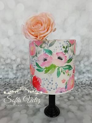 Roses y Rice paper - Cake by Sofia veliz