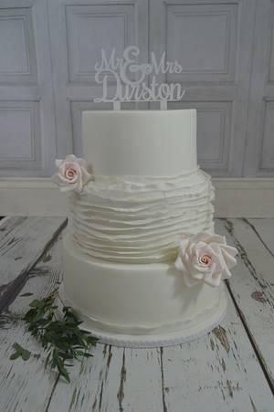 White Ruffle Rose Wedding Cake...x. - Cake by Lulu Belles Cupcake Creations