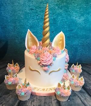 Pastel unicorn cake and cupcakes  - Cake by Maria-Louise Cakes