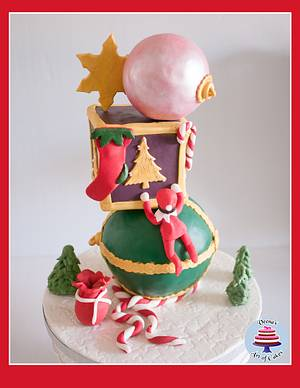Christmas Baubles and Elf Cake  - Cake by Veenas Art of Cakes