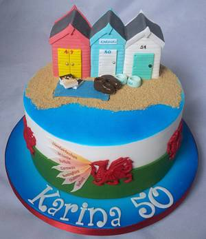 Beach Huts - Cake by Jan
