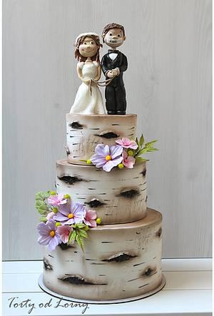 Birch Tree Wedding Cake - Cake by Lorna
