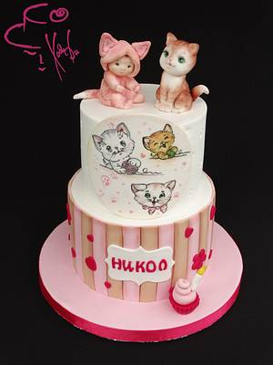 Sweet cat and baby girl  - Cake by Diana