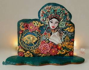 Chinese new year Sugarjunkies Collaborations - Princess of China - Cake by Gele's Cookies