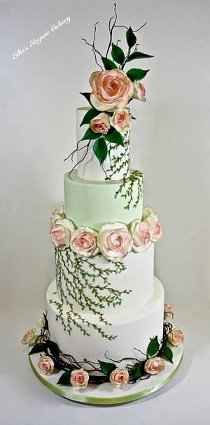 Summer Rose Wedding Cake - Cake by Ellie @ Ellie's Elegant Cakery