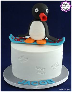 Snowboarding Pingu - Cake by BakedbyBeth