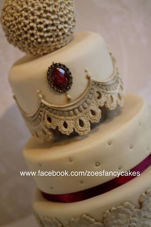 Red and Beige Wedding cake - Cake by Zoe's Fancy Cakes