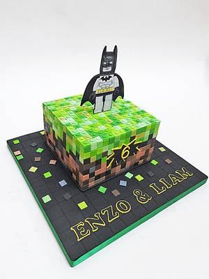 Minecraft/Lego Batman mash-up - Cake by The Chain Lane Cake Co.
