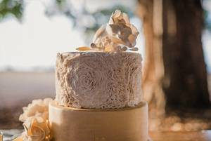 Ruffles, gold and Rose. Romance on the Beach - Cake by Sue's Sweet Delights