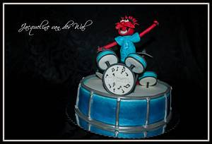for my sons best friend who loves to drum and becomes 10 years i made this muppet - Cake by Jacqueline