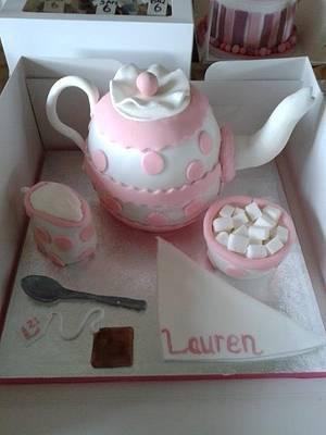 A teapot cake complete with sugar bowl, teaspoon and tea bag. - Cake by Disneyworld25