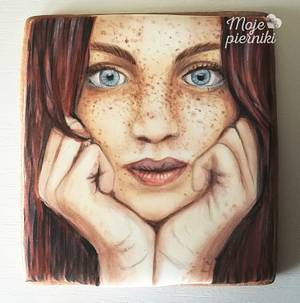 Portrait of a girl- hand painted - Cake by Ewa Kiszowara