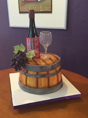Half Wine Barrel Anniversary cake with isomalt bottle and glass - Cake by Scott R.