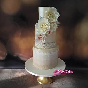 Ivory Ombre Scales with Spring Flowers - Cake by Miss Shortcakes