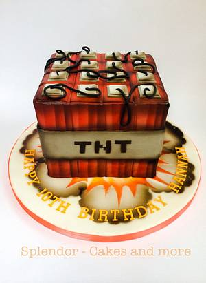 Airbrushed Minecraft TNT - Cake by Ellen Redmond@Splendor Cakes
