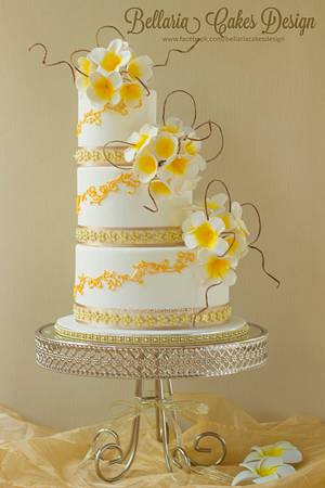 Bali themed wedding cake - Cake by Bellaria Cake Design