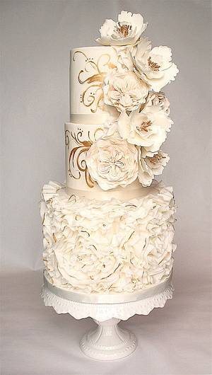 ruffles, roses and gold - Cake by Kathy's Little Cakery