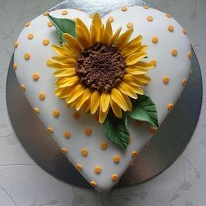 Sunflower heart cake. - Cake by Zoe White